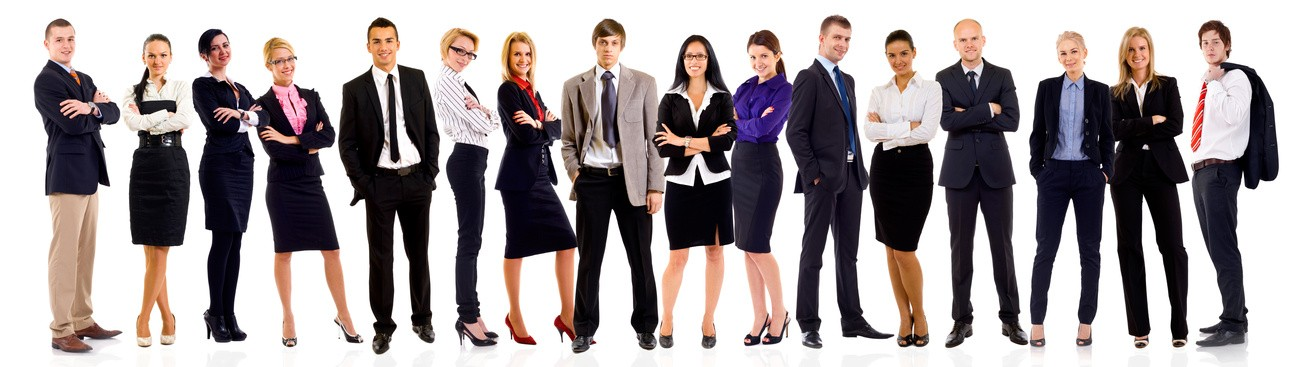 Successful happy business team, isolated on white